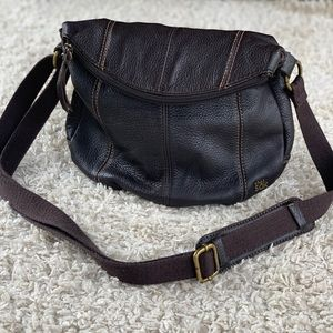The Sak Leather Flap Rounded Zip Around Purse Bag